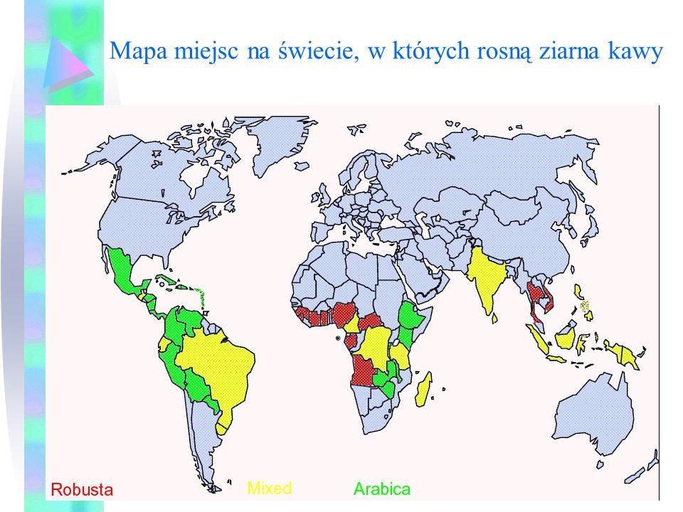 Mapa miejsc na świecie, w których rosną ziarna kawy