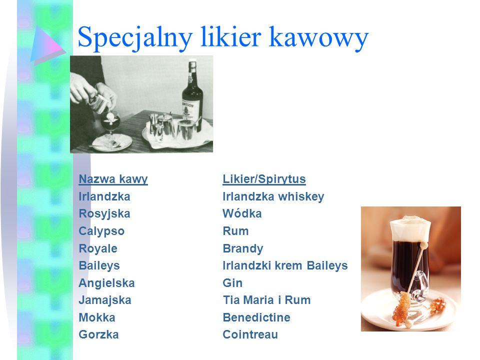 Specjalny likier kawowy Nazwa kawyLikier/Spirytus IrlandzkaIrlandzka whiskey RosyjskaWódka Calypso Rum Royale Brandy Baileys Irlandzki krem Baileys An