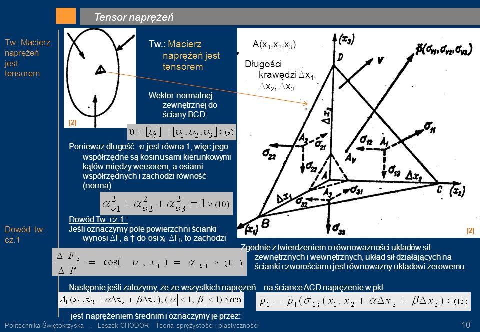 Tw: Macierz naprężeń jest tensorem Dowód tw: cz.1 Tensor naprężeń. [2] Tw.: Macierz naprężeń jest tensorem [2] A(x 1,x 2,x 3 ) Długości krawędzi D x 1