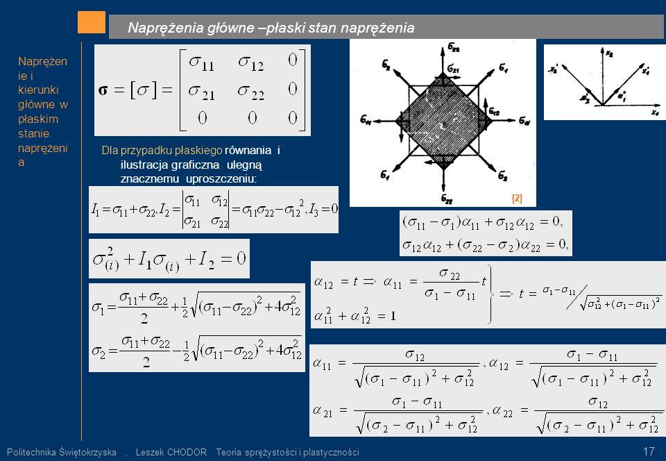 Naprężenia główne –płaski stan naprężenia Naprężen ie i kierunki główne w płaskim stanie naprężeni a Dla przypadku płaskiego równania i ilustracja gra