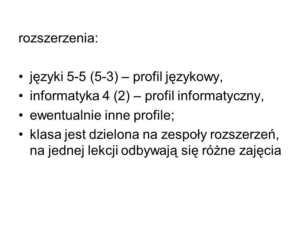 rozszerzenia: języki 5-5 (5-3) – profil językowy, informatyka 4 (2) – profil informatyczny, ewentualnie inne profile; klasa jest dzielona na zespoły r