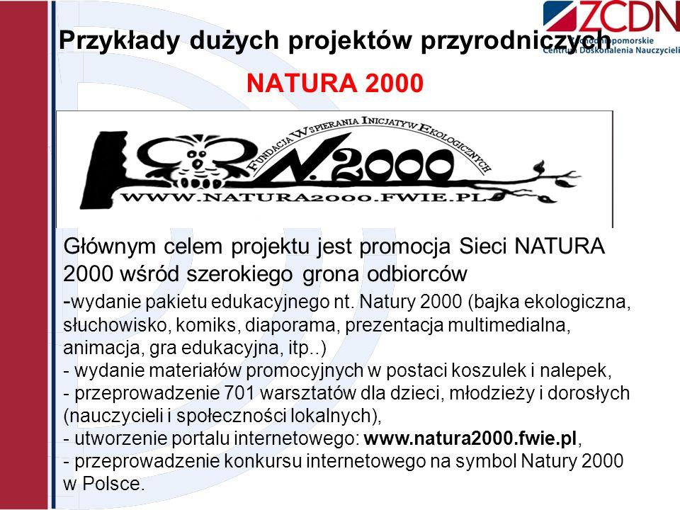 Przykłady dużych projektów przyrodniczych NATURA 2000 Głównym celem projektu jest promocja Sieci NATURA 2000 wśród szerokiego grona odbiorców - wydani
