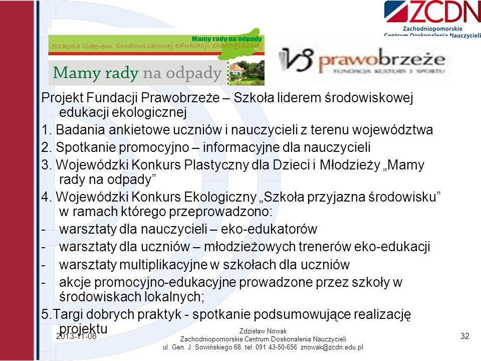 2013-11-08 Zdzisław Nowak Zachodniopomorskie Centrum Doskonalenia Nauczycieli ul. Gen. J. Sowińskiego 68, tel. 091 43-50-656 znowak@zcdn.edu.pl 32 Pro