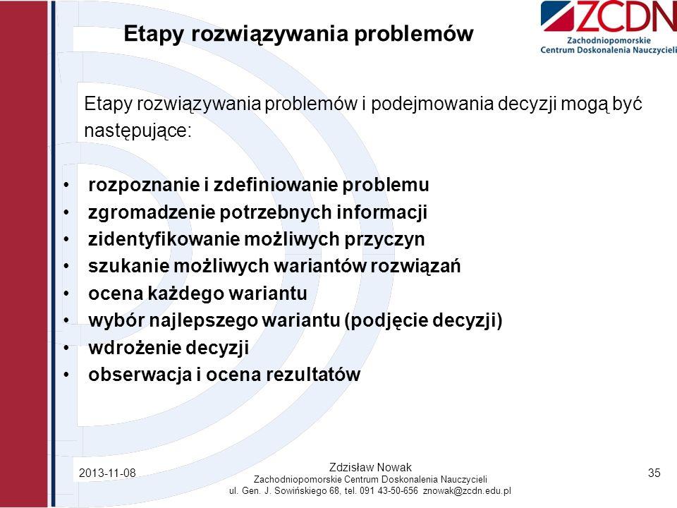 Etapy rozwiązywania problemów Etapy rozwiązywania problemów i podejmowania decyzji mogą być następujące: rozpoznanie i zdefiniowanie problemu zgromadz