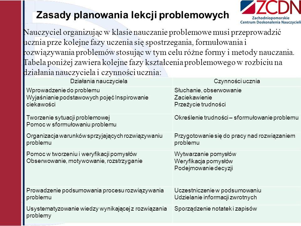 Zasady planowania lekcji problemowych 2013-11-08 Zdzisław Nowak Zachodniopomorskie Centrum Doskonalenia Nauczycieli ul. Gen. J. Sowińskiego 68, tel. 0