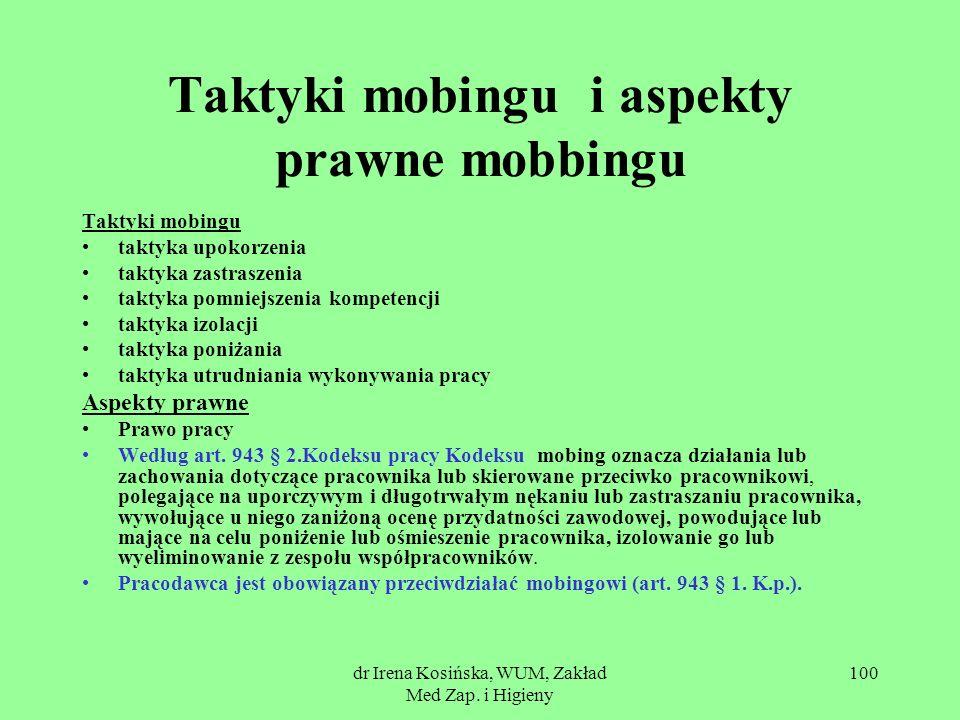 dr Irena Kosińska, WUM, Zakład Med Zap. i Higieny 100 Taktyki mobingu i aspekty prawne mobbingu Taktyki mobingu taktyka upokorzenia taktyka zastraszen