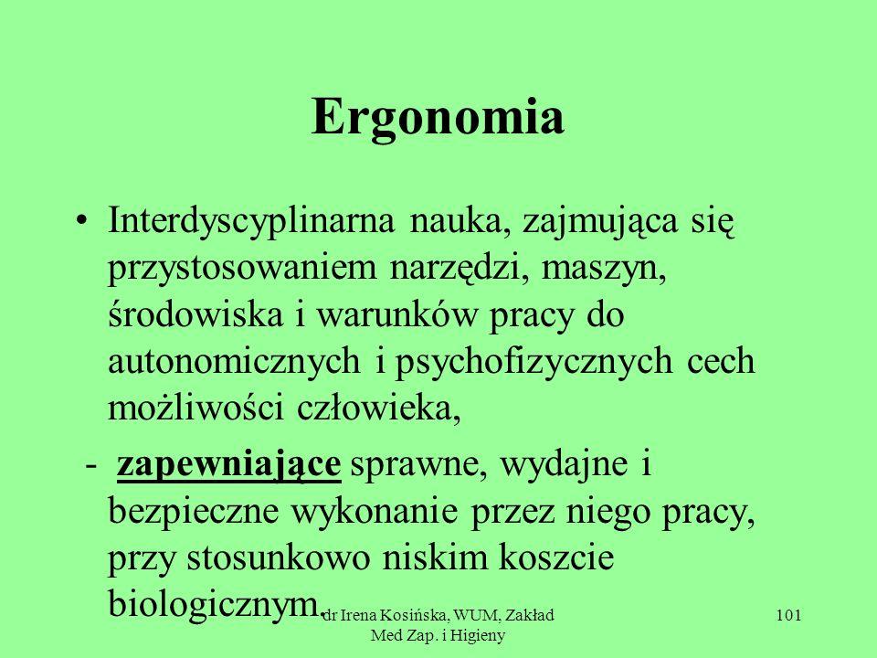 dr Irena Kosińska, WUM, Zakład Med Zap. i Higieny 101 Ergonomia Interdyscyplinarna nauka, zajmująca się przystosowaniem narzędzi, maszyn, środowiska i