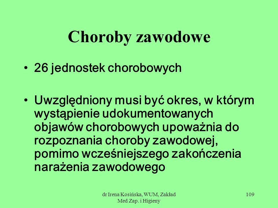 dr Irena Kosińska, WUM, Zakład Med Zap. i Higieny 109 Choroby zawodowe 26 jednostek chorobowych Uwzględniony musi być okres, w którym wystąpienie udok