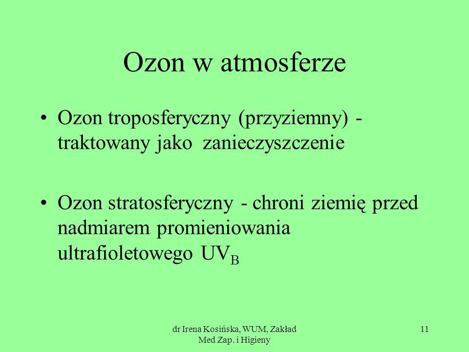 dr Irena Kosińska, WUM, Zakład Med Zap. i Higieny 11 Ozon w atmosferze Ozon troposferyczny (przyziemny) - traktowany jako zanieczyszczenie Ozon strato