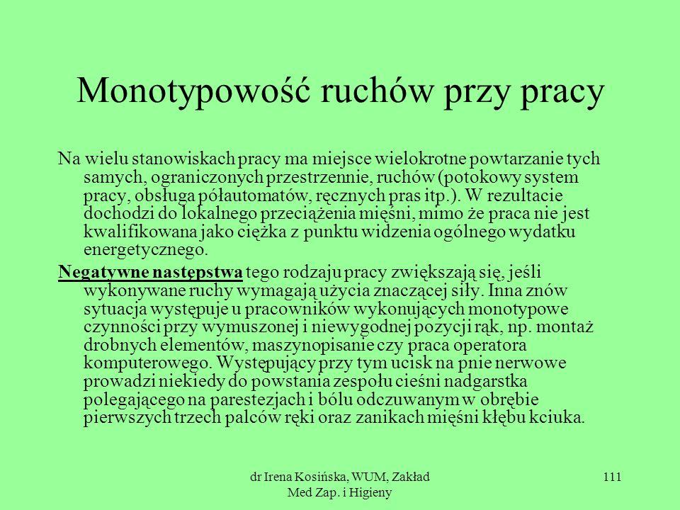 dr Irena Kosińska, WUM, Zakład Med Zap. i Higieny 111 Monotypowość ruchów przy pracy Na wielu stanowiskach pracy ma miejsce wielokrotne powtarzanie ty