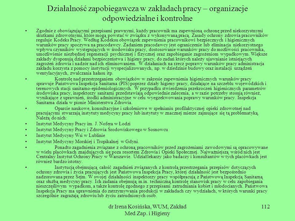dr Irena Kosińska, WUM, Zakład Med Zap. i Higieny 112 Działalność zapobiegawcza w zakładach pracy – organizacje odpowiedzialne i kontrolne Zgodnie z o