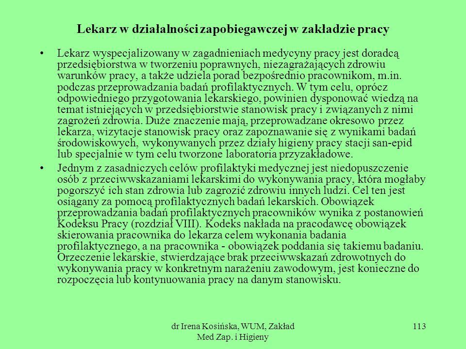 dr Irena Kosińska, WUM, Zakład Med Zap. i Higieny 113 Lekarz w działalności zapobiegawczej w zakładzie pracy Lekarz wyspecjalizowany w zagadnieniach m