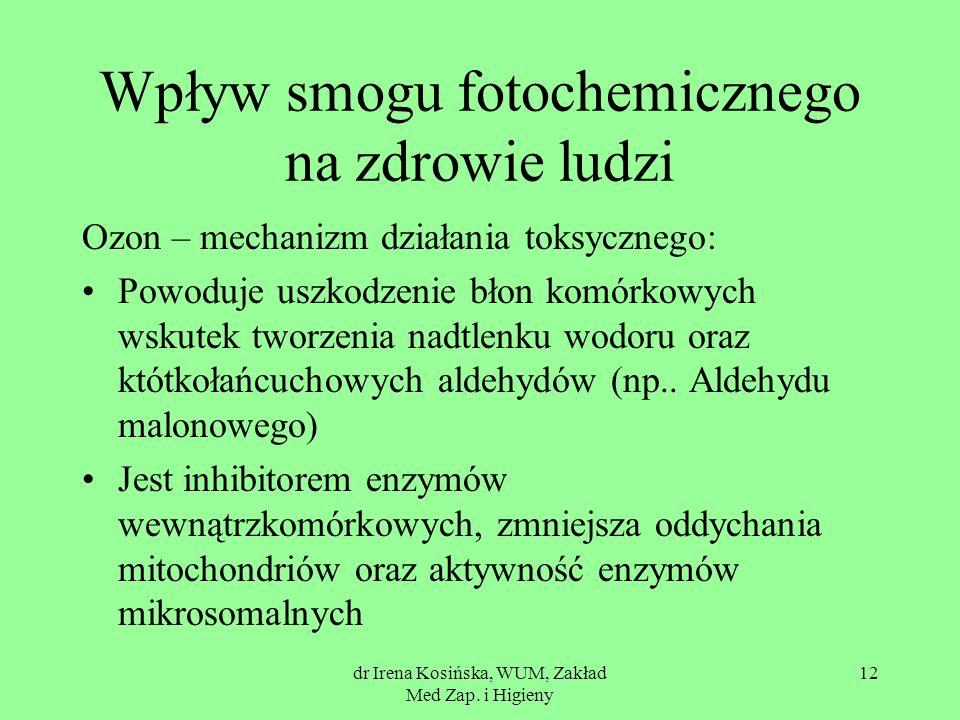 dr Irena Kosińska, WUM, Zakład Med Zap. i Higieny 12 Wpływ smogu fotochemicznego na zdrowie ludzi Ozon – mechanizm działania toksycznego: Powoduje usz
