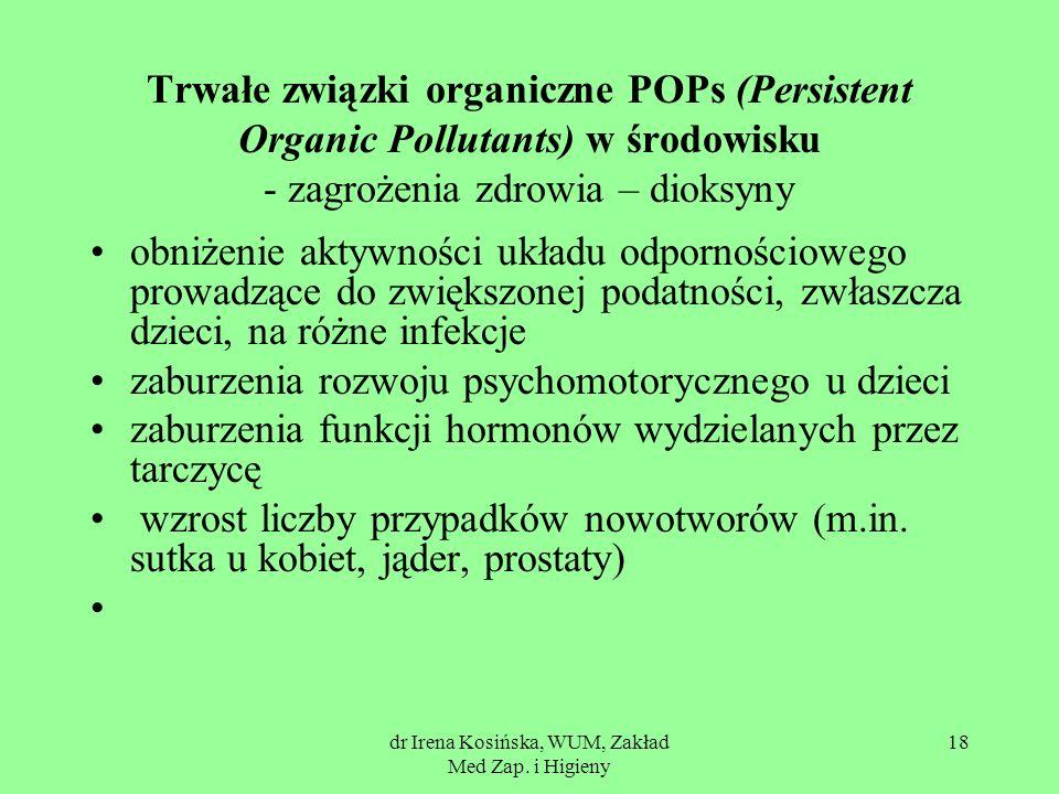 dr Irena Kosińska, WUM, Zakład Med Zap. i Higieny 18 Trwałe związki organiczne POPs (Persistent Organic Pollutants) w środowisku - zagrożenia zdrowia