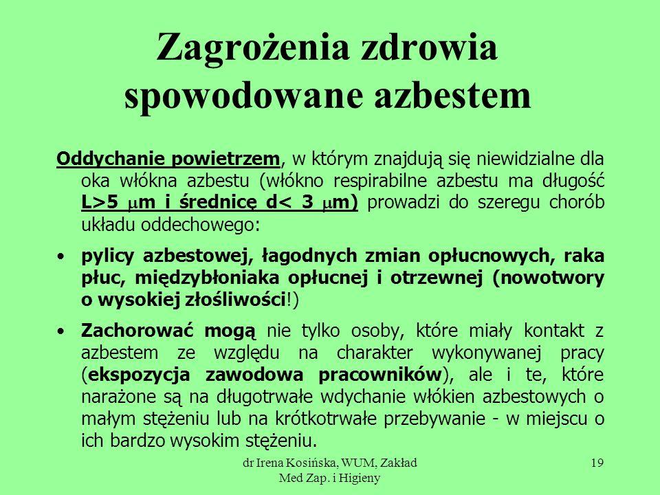 dr Irena Kosińska, WUM, Zakład Med Zap. i Higieny 19 Zagrożenia zdrowia spowodowane azbestem Oddychanie powietrzem, w którym znajdują się niewidzialne