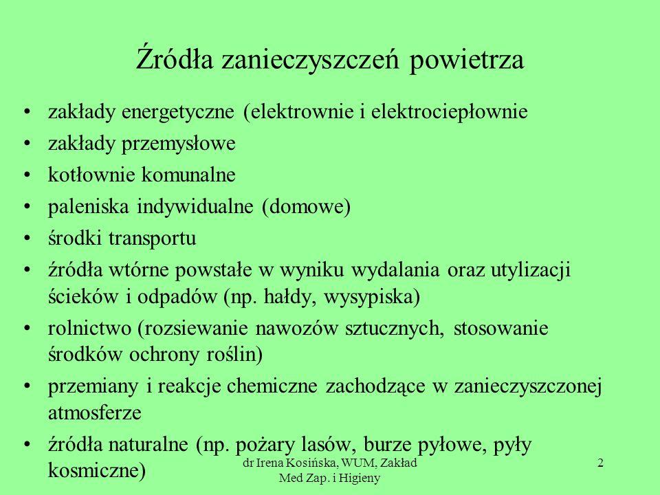 dr Irena Kosińska, WUM, Zakład Med Zap. i Higieny 2 Źródła zanieczyszczeń powietrza zakłady energetyczne (elektrownie i elektrociepłownie zakłady prze