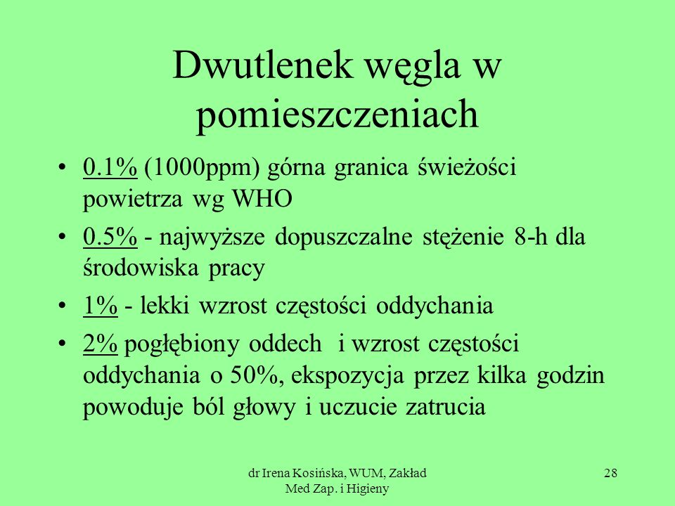 dr Irena Kosińska, WUM, Zakład Med Zap. i Higieny 28 Dwutlenek węgla w pomieszczeniach 0.1% (1000ppm) górna granica świeżości powietrza wg WHO 0.5% -