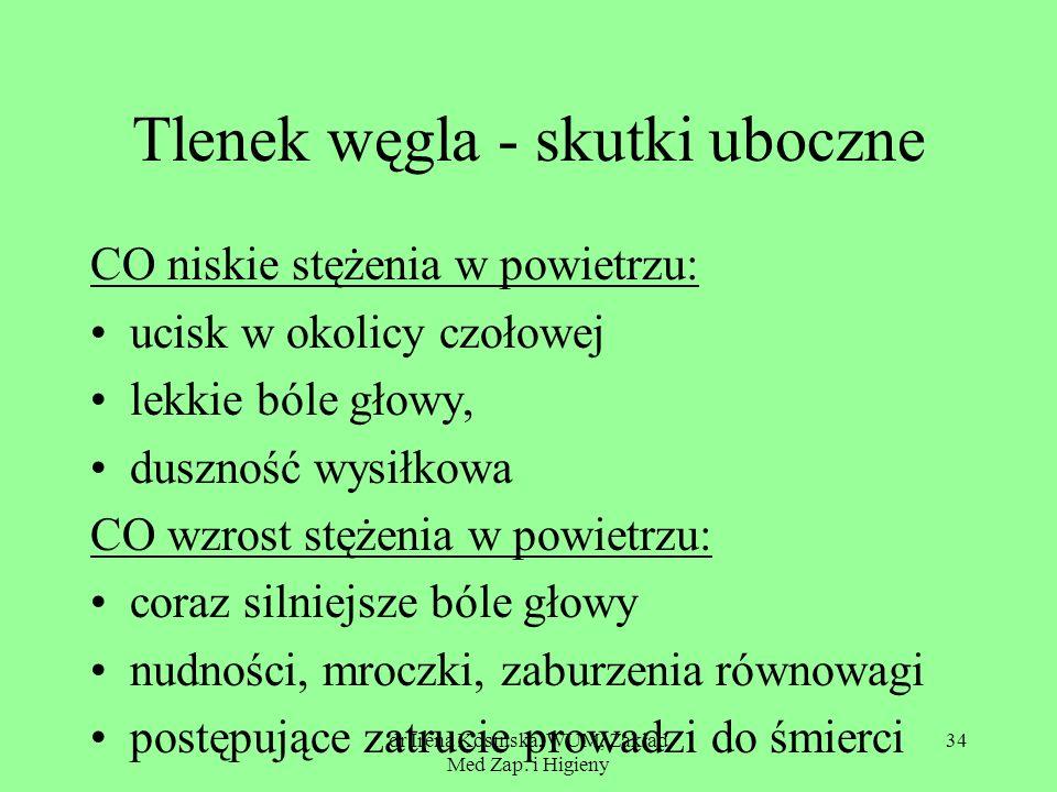 dr Irena Kosińska, WUM, Zakład Med Zap. i Higieny 34 Tlenek węgla - skutki uboczne CO niskie stężenia w powietrzu: ucisk w okolicy czołowej lekkie ból