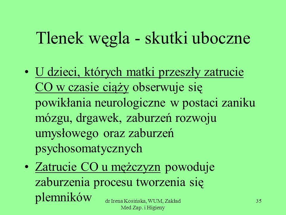 dr Irena Kosińska, WUM, Zakład Med Zap. i Higieny 35 Tlenek węgla - skutki uboczne U dzieci, których matki przeszły zatrucie CO w czasie ciąży obserwu