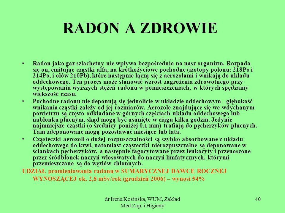 dr Irena Kosińska, WUM, Zakład Med Zap. i Higieny 40 RADON A ZDROWIE Radon jako gaz szlachetny nie wpływa bezpośrednio na nasz organizm. Rozpada się o