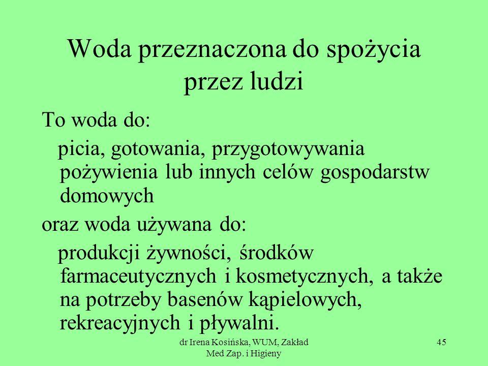 dr Irena Kosińska, WUM, Zakład Med Zap. i Higieny 45 Woda przeznaczona do spożycia przez ludzi To woda do: picia, gotowania, przygotowywania pożywieni