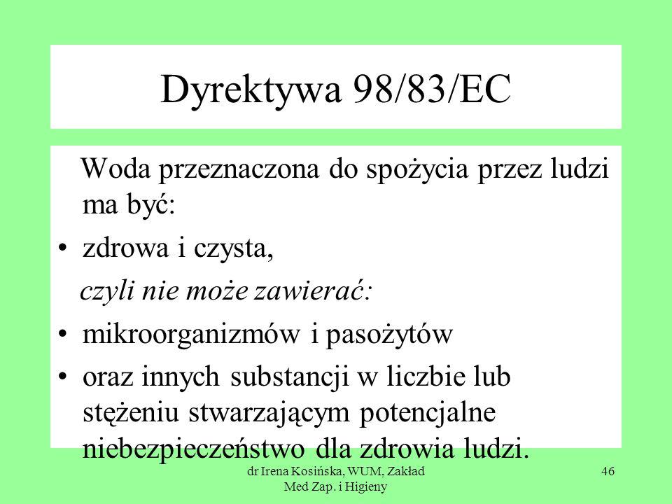 dr Irena Kosińska, WUM, Zakład Med Zap. i Higieny 46 Dyrektywa 98/83/EC Woda przeznaczona do spożycia przez ludzi ma być: zdrowa i czysta, czyli nie m