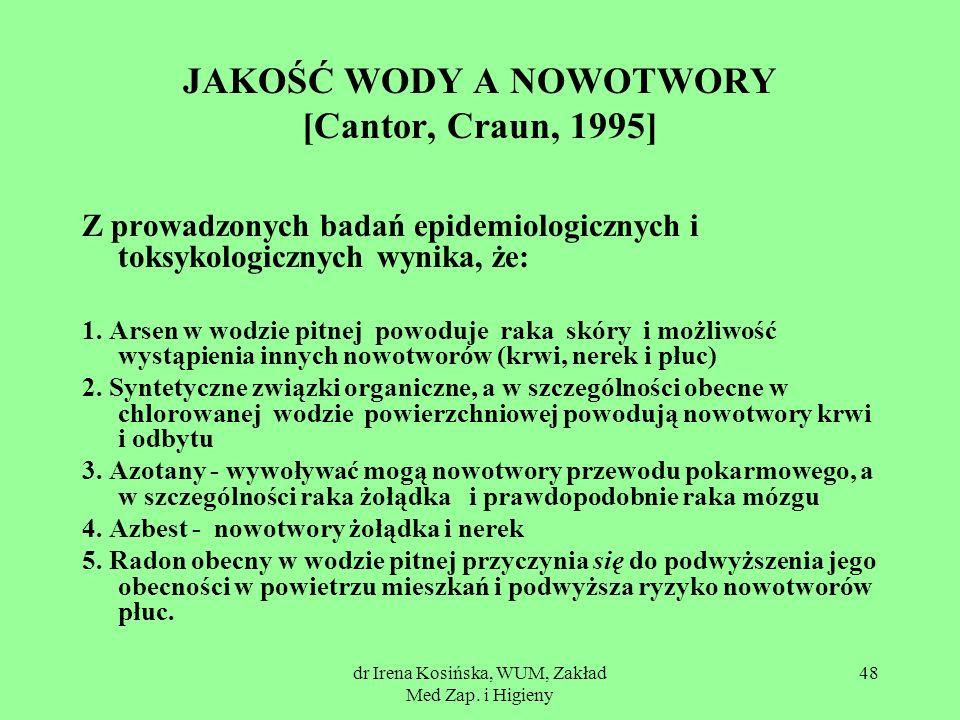 dr Irena Kosińska, WUM, Zakład Med Zap. i Higieny 48 JAKOŚĆ WODY A NOWOTWORY [Cantor, Craun, 1995] Z prowadzonych badań epidemiologicznych i toksykolo