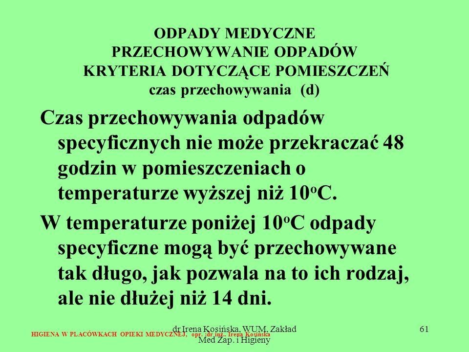 dr Irena Kosińska, WUM, Zakład Med Zap. i Higieny 61 ODPADY MEDYCZNE PRZECHOWYWANIE ODPADÓW KRYTERIA DOTYCZĄCE POMIESZCZEŃ czas przechowywania (d) Cza
