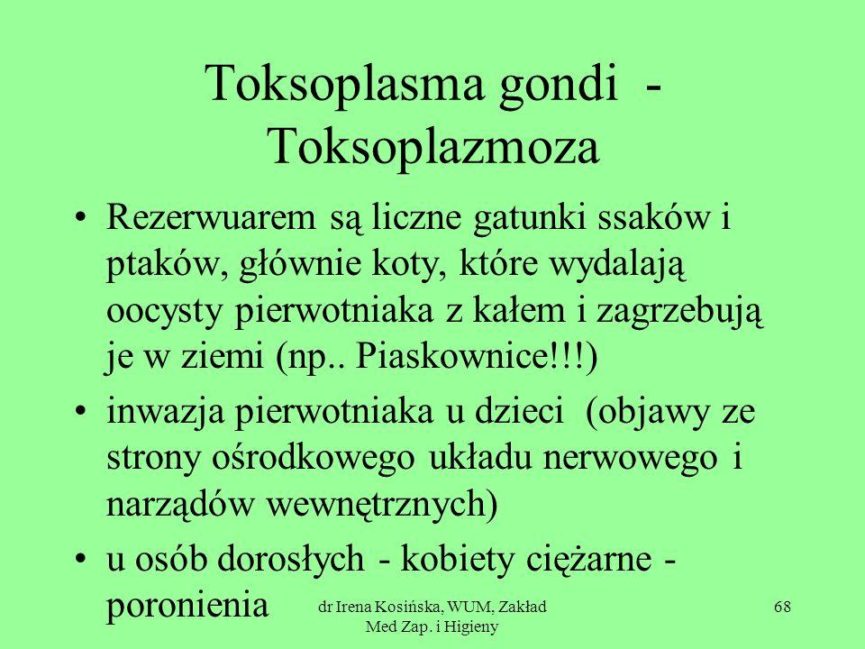 dr Irena Kosińska, WUM, Zakład Med Zap. i Higieny 68 Toksoplasma gondi - Toksoplazmoza Rezerwuarem są liczne gatunki ssaków i ptaków, głównie koty, kt