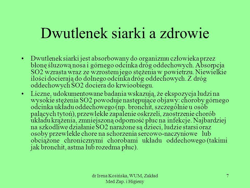 dr Irena Kosińska, WUM, Zakład Med Zap. i Higieny 7 Dwutlenek siarki a zdrowie Dwutlenek siarki jest absorbowany do organizmu człowieka przez błonę śl