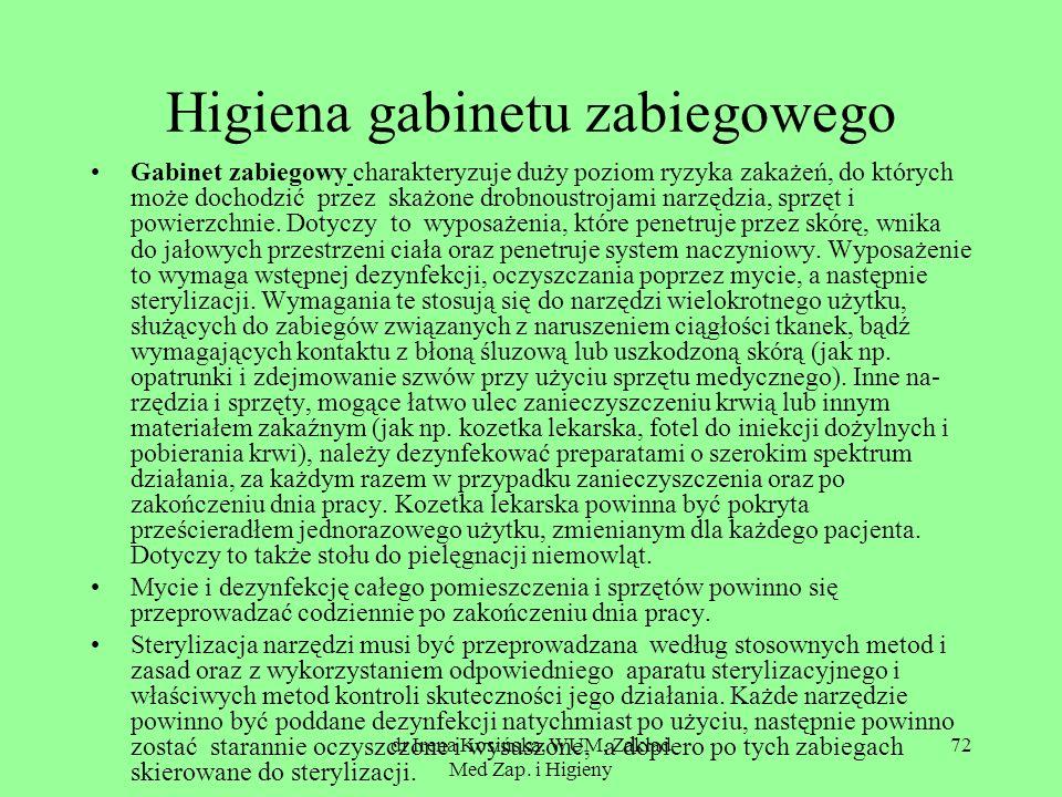 dr Irena Kosińska, WUM, Zakład Med Zap. i Higieny 72 Higiena gabinetu zabiegowego Gabinet zabiegowy charakteryzuje duży poziom ryzyka zakażeń, do któr