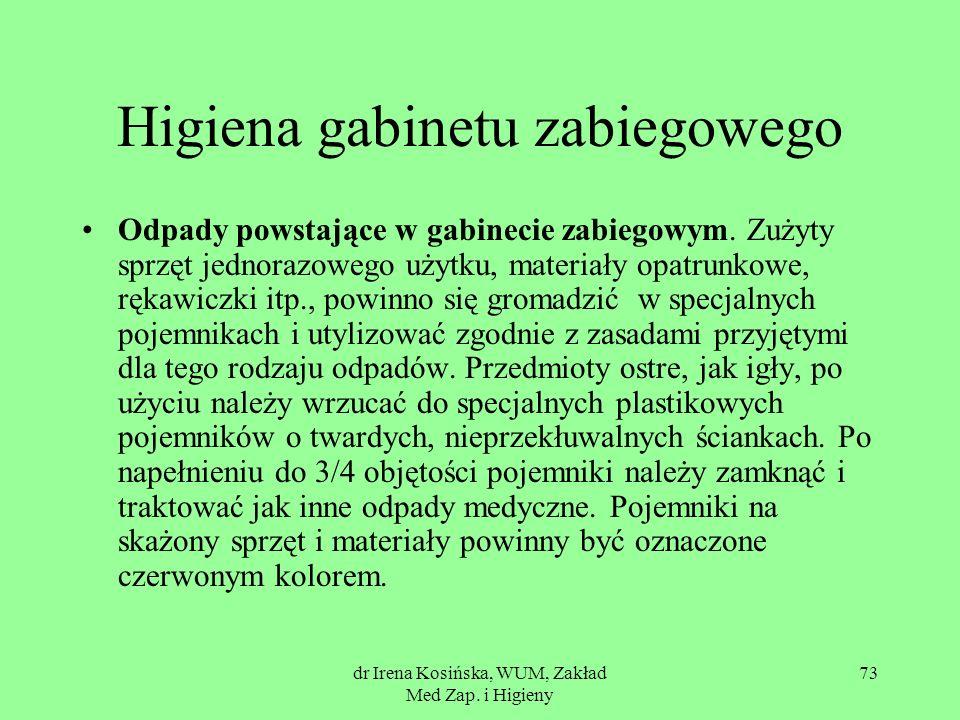 dr Irena Kosińska, WUM, Zakład Med Zap. i Higieny 73 Higiena gabinetu zabiegowego Odpady powstające w gabinecie zabiegowym. Zużyty sprzęt jednorazoweg