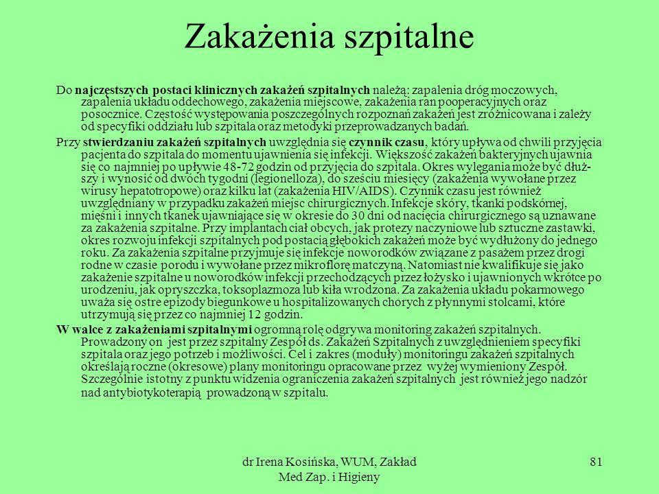 dr Irena Kosińska, WUM, Zakład Med Zap. i Higieny 81 Zakażenia szpitalne Do najczęstszych postaci klinicznych zakażeń szpitalnych należą: zapalenia dr
