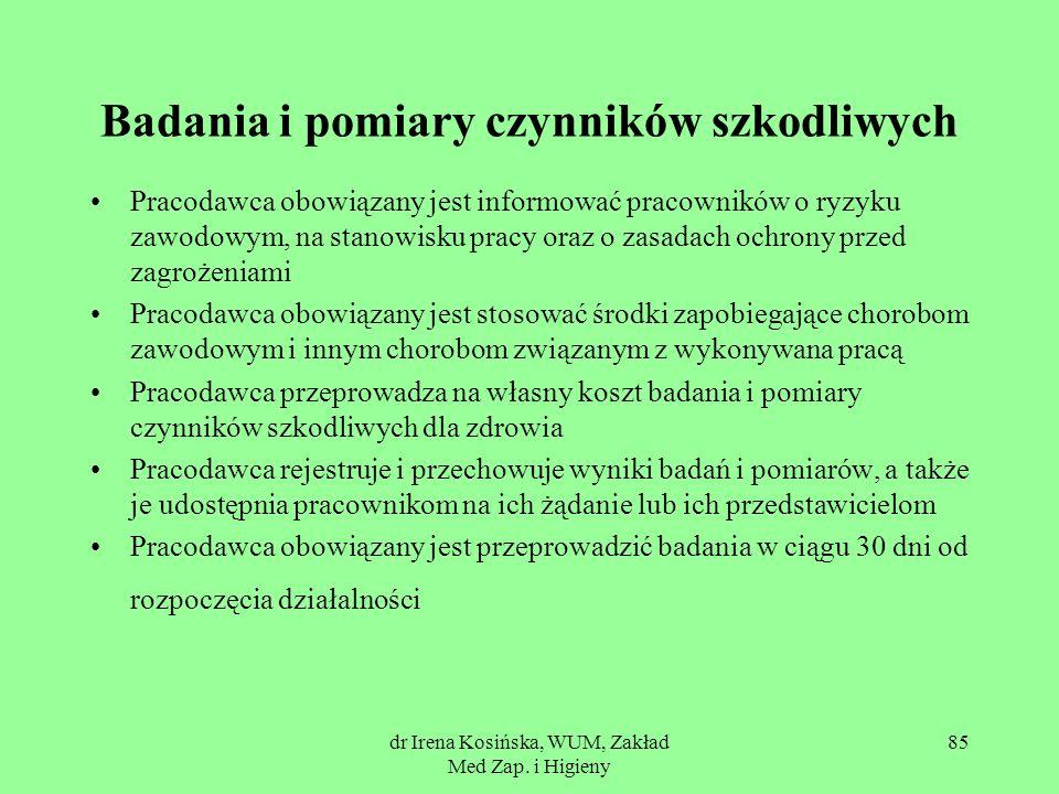 dr Irena Kosińska, WUM, Zakład Med Zap. i Higieny 85 Badania i pomiary czynników szkodliwych Pracodawca obowiązany jest informować pracowników o ryzyk