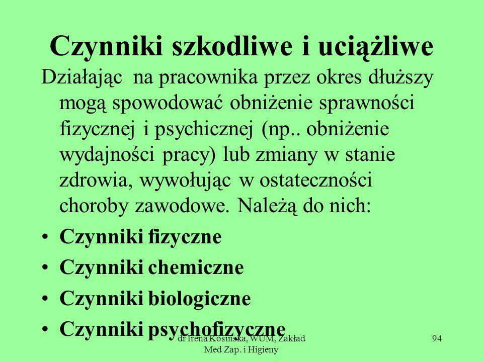 dr Irena Kosińska, WUM, Zakład Med Zap. i Higieny 94 Czynniki szkodliwe i uciążliwe Działając na pracownika przez okres dłuższy mogą spowodować obniże
