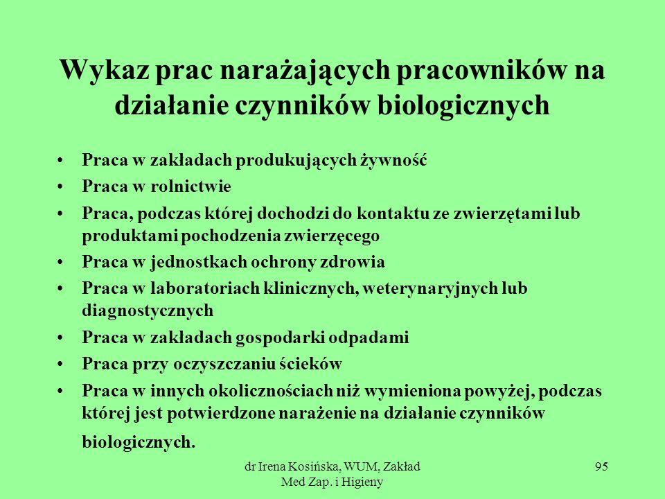 dr Irena Kosińska, WUM, Zakład Med Zap. i Higieny 95 Wykaz prac narażających pracowników na działanie czynników biologicznych Praca w zakładach produk