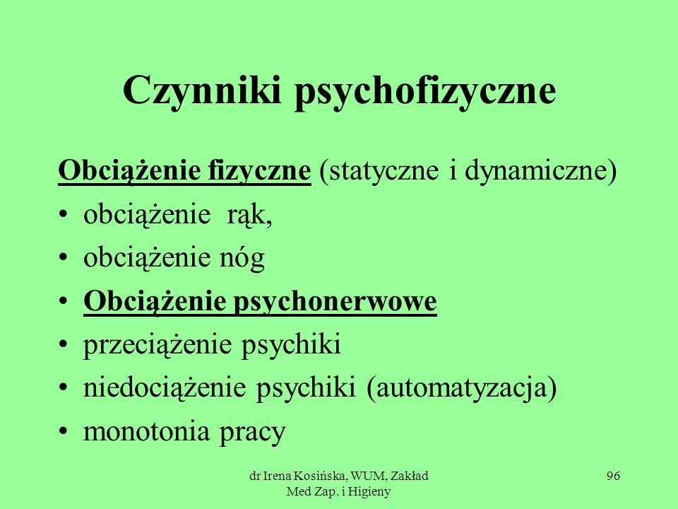 dr Irena Kosińska, WUM, Zakład Med Zap. i Higieny 96 Czynniki psychofizyczne Obciążenie fizyczne (statyczne i dynamiczne) obciążenie rąk, obciążenie n