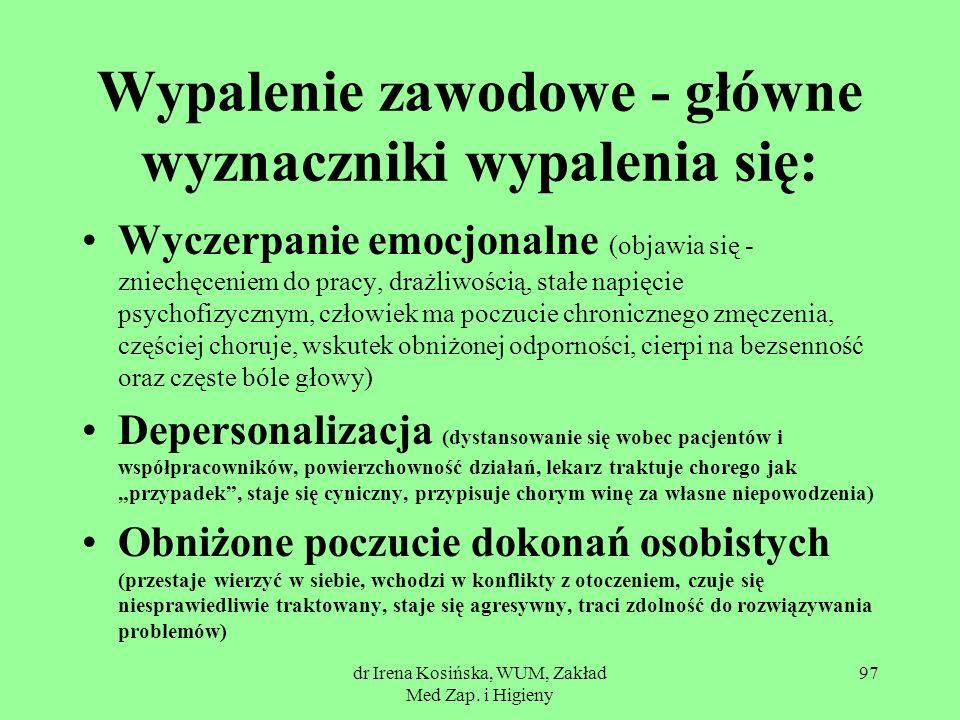 dr Irena Kosińska, WUM, Zakład Med Zap. i Higieny 97 Wypalenie zawodowe - główne wyznaczniki wypalenia się: Wyczerpanie emocjonalne (objawia się - zni