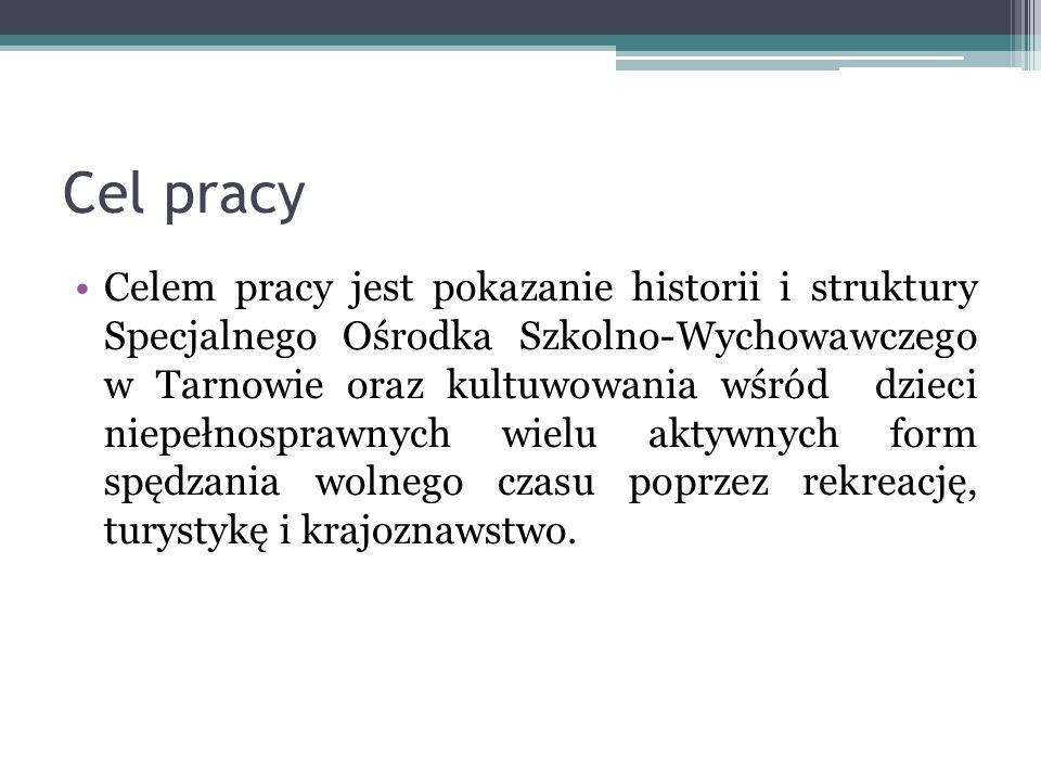Cel pracy Celem pracy jest pokazanie historii i struktury Specjalnego Ośrodka Szkolno-Wychowawczego w Tarnowie oraz kultuwowania wśród dzieci niepełno
