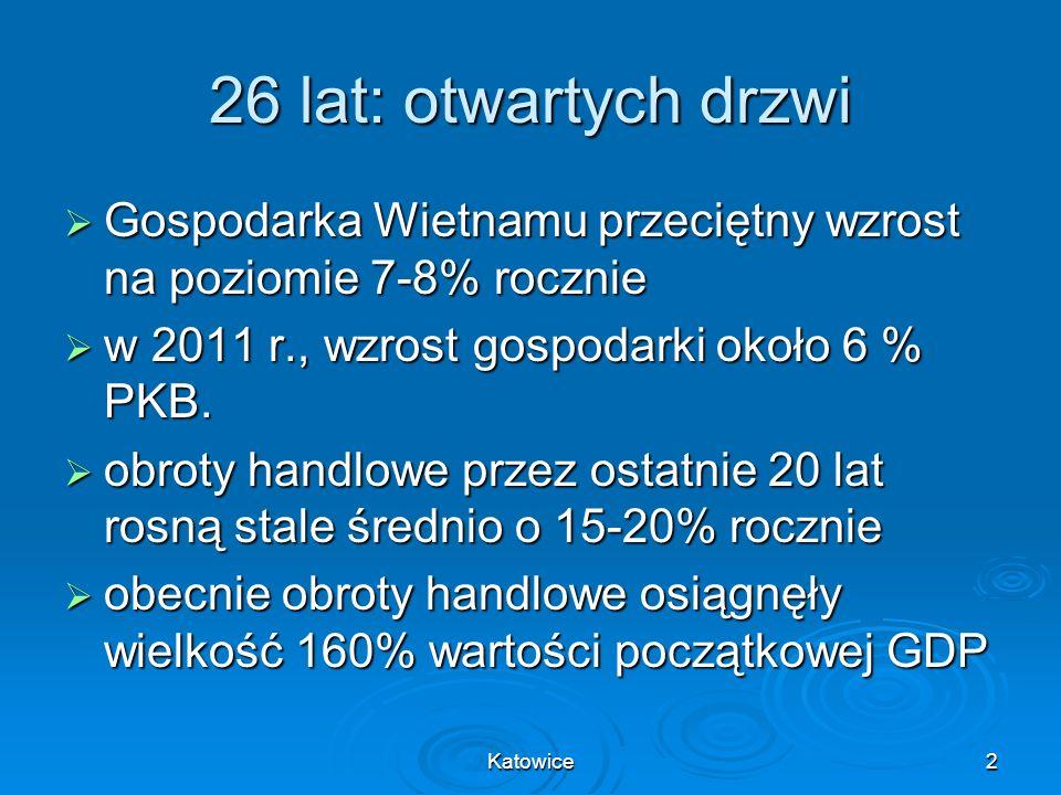 Katowice3 Powierzchnia:331 690 km 2 Populacja:88,4 mln PKB: 104 bln USD PKB/mieszkańca:1200 USD Członkostwo w organizacjach: WTO– 2007 ASEAN– 1995 Hanoi HCMC