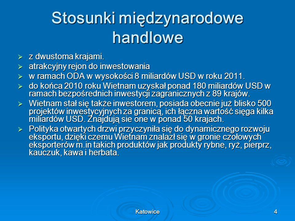 Katowice5 Wietnam na arenie międzynarodowej Wietnam jest aktywnym członkiem ASEAN, ASEM, APEC, WTO i innych organizacji międzynarodowych.