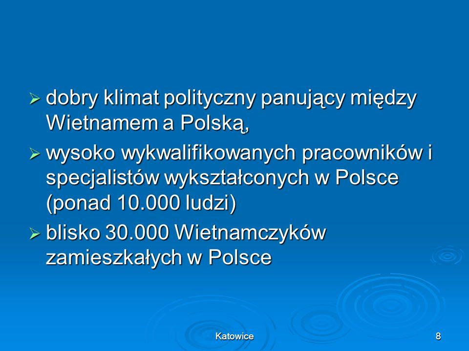 Katowice9 bezpośrednie połączenie lotnicze Warszawa – Hanoi bezpośrednie połączenie lotnicze Warszawa – Hanoi na rynek wietnamski, rynek 88 milionów konsumentów, na rynek wietnamski, rynek 88 milionów konsumentów, na rynek jeszcze większy – 580 milionów mieszkańców krajów ASEAN-u.