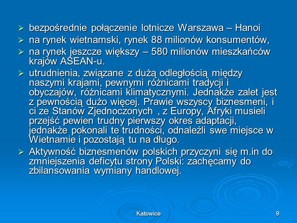 Katowice9 bezpośrednie połączenie lotnicze Warszawa – Hanoi bezpośrednie połączenie lotnicze Warszawa – Hanoi na rynek wietnamski, rynek 88 milionów k