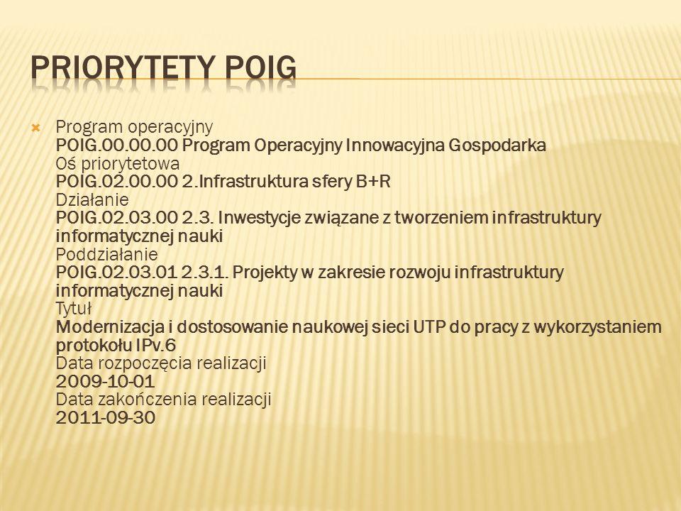 Program operacyjny POIG.00.00.00 Program Operacyjny Innowacyjna Gospodarka Oś priorytetowa POIG.02.00.00 2.Infrastruktura sfery B+R Działanie POIG.02.