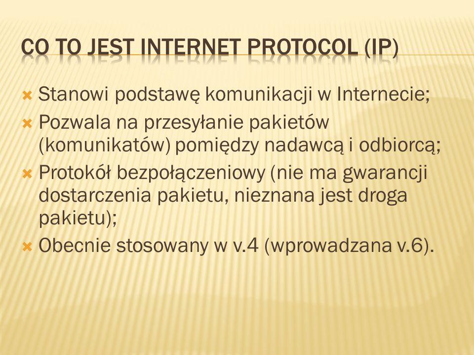 Stanowi podstawę komunikacji w Internecie; Pozwala na przesyłanie pakietów (komunikatów) pomiędzy nadawcą i odbiorcą; Protokół bezpołączeniowy (nie ma