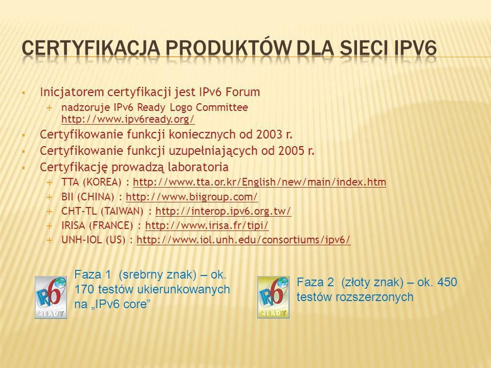 Inicjatorem certyfikacji jest IPv6 Forum nadzoruje IPv6 Ready Logo Committee http://www.ipv6ready.org/ http://www.ipv6ready.org/ Certyfikowanie funkcj
