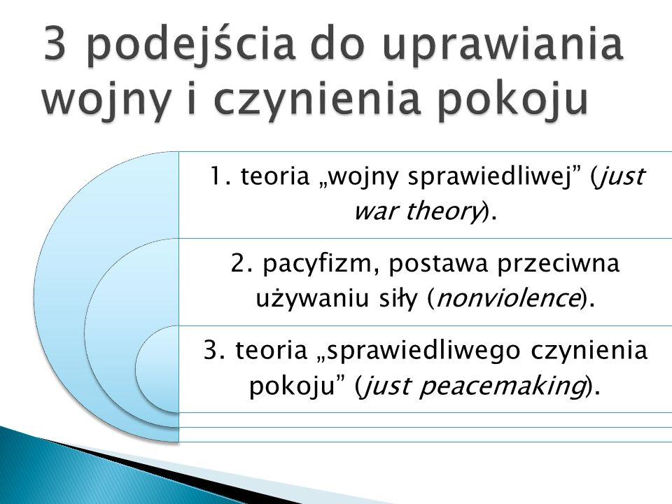 1. teoria wojny sprawiedliwej (just war theory). 2. pacyfizm, postawa przeciwna używaniu siły (nonviolence). 3. teoria sprawiedliwego czynienia pokoju