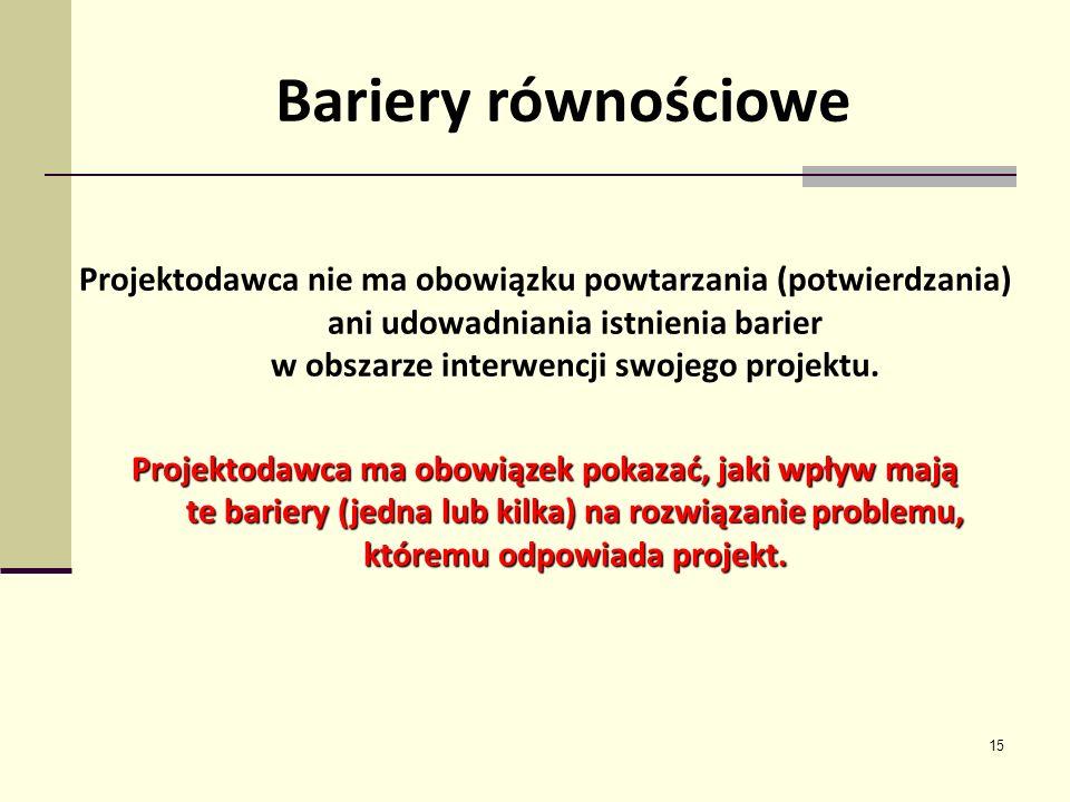 15 Bariery równościowe Projektodawca nie ma obowiązku powtarzania (potwierdzania) ani udowadniania istnienia barier w obszarze interwencji swojego pro