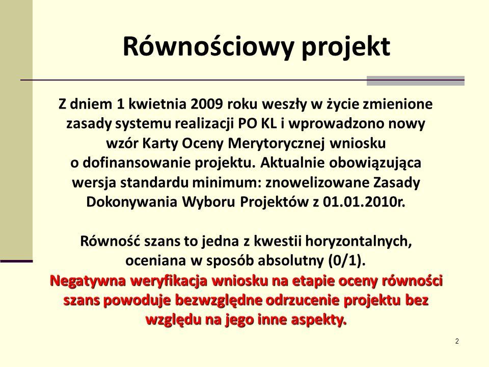 2 Z dniem 1 kwietnia 2009 roku weszły w życie zmienione zasady systemu realizacji PO KL i wprowadzono nowy wzór Karty Oceny Merytorycznej wniosku o do