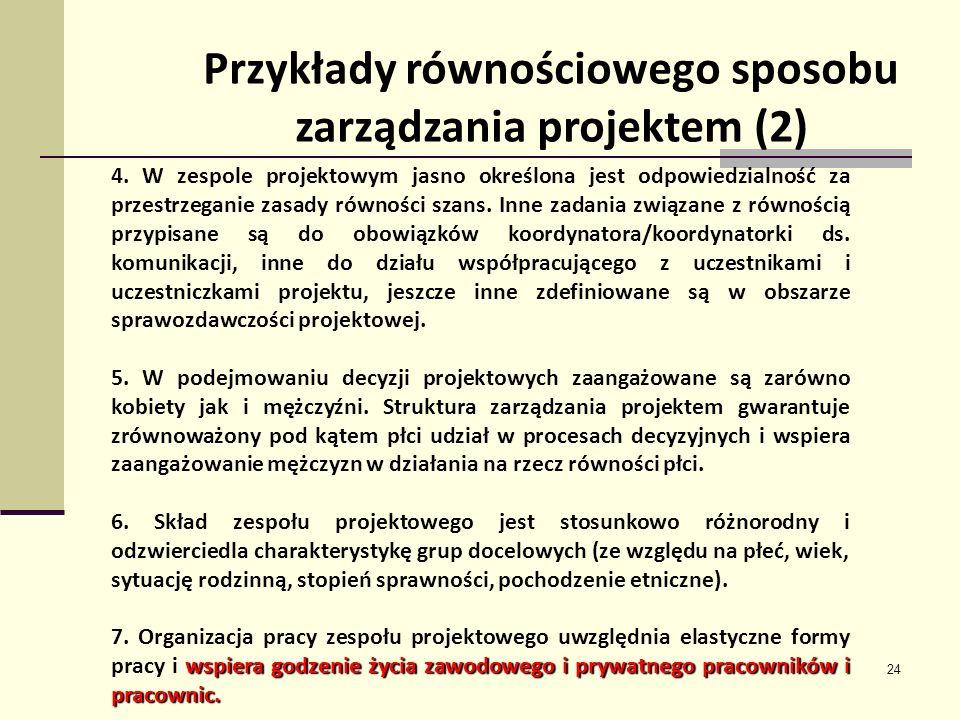 24 Przykłady równościowego sposobu zarządzania projektem (2) 4. W zespole projektowym jasno określona jest odpowiedzialność za przestrzeganie zasady r